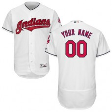 Custom Cleveland Indians White Flexbase Authentic Collection Jersey