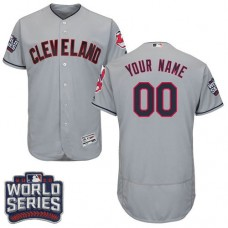 Custom Cleveland Indians Grey 2016 World Series Bound Flexbase Authentic Collection Jersey