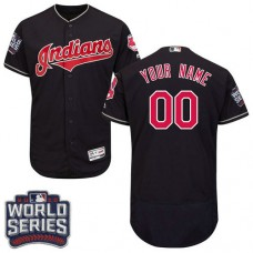 Custom Cleveland Indians Navy Blue 2016 World Series Bound Flexbase Authentic Collection Jersey
