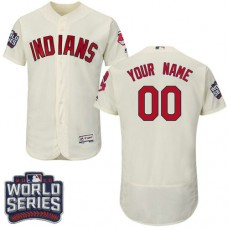 Custom Cleveland Indians Cream 2016 World Series Bound Flexbase Authentic Collection Jersey
