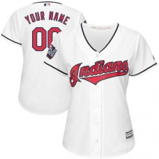 Women's Custom Cleveland Indians Authentic White Home 2016 World Series Bound Cool Base Jersey