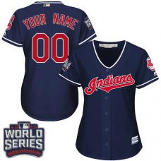 Women's Custom Cleveland Indians Authentic Navy Blue Alternate 1 2016 World Series Bound Cool Base Jersey