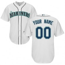 Custom Seattle Mariners Authentic White Home Cool Base Jersey