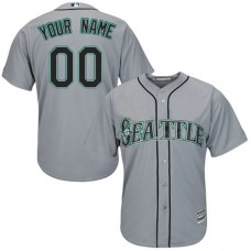 Custom Seattle Mariners Authentic Grey Road Cool Base Jersey