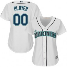 Women's Custom Seattle Mariners Authentic White Home Cool Base Jersey