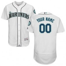 Custom Seattle Mariners White Flexbase Authentic Collection Jersey