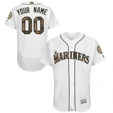 Custom Seattle Mariners Authentic White 2016 Memorial Day Fashion Flex Base Jersey