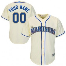 Youth Custom Seattle Mariners Authentic Cream Alternate Cool Base Jersey
