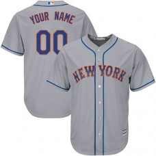 Custom New York Mets Authentic Grey Road Cool Base Jersey