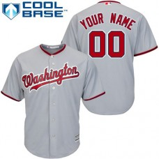 Youth Custom Washington Nationals Replica Grey Road Cool Base Jersey