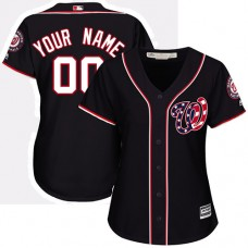 Women's Custom Washington Nationals Authentic Navy Blue Alternate 2 Cool Base Jersey