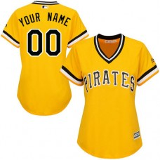 Women's Custom Pittsburgh Pirates Replica Gold Alternate Cool Base Jersey