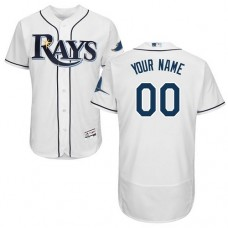 Custom Tampa Bay Rays Home White Flexbase Authentic Collection Jersey