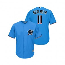 Miami Marlins Blue #11 2019 Cool Base J.T. Realmuto Alternate Jersey