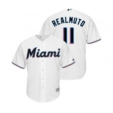 Miami Marlins White #11 2019 Cool Base J.T. Realmuto Home Jersey