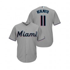 Miami Marlins Gray #11 2019 Cool Base J.T. Realmuto Official Jersey