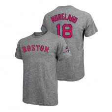 Boston Red Sox Gray #18 Mitch Moreland Majestic Threads T-Shirt 2018 World Series Champions