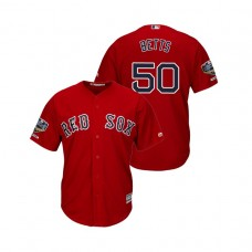 Boston Red Sox Scarlet #50 Mookie Betts Cool Base Jersey 2018 World Series Champions