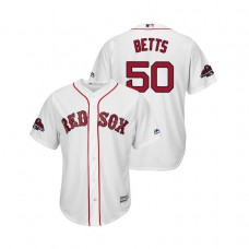 Boston Red Sox White #50 Mookie Betts Team Logo Patch Jersey 2018 World Series Champions