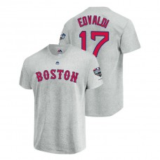 Boston Red Sox Gray #17 Nathan Eovaldi Sleeve Patch T-Shirt 2018 World Series Champions