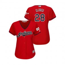 Women - Cleveland Indians 2019 All-Star Game Patch Scarlet #28 Corey Kluber Cool Base Jersey