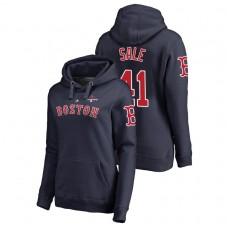 Women - Boston Red Sox #41 Navy Chris Sale Pullover Majestic Hoodie 2018 World Series Champions