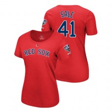 Women - Boston Red Sox Red #41 Chris Sale Sleeve Patch T-Shirt 2018 World Series Champions