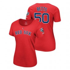 Women - Boston Red Sox Red #50 Mookie Betts Sleeve Patch T-Shirt 2018 World Series Champions