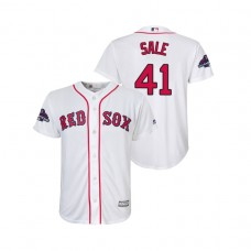 Youth Boston Red Sox White #41 Chris Sale Team Logo Patch Jersey 2018 World Series Champions