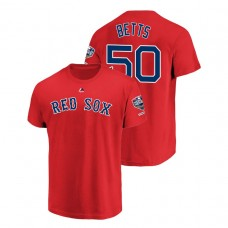 Youth Boston Red Sox Red #50 Mookie Betts Sleeve Patch T-Shirt 2018 World Series Champions