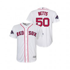 Youth Boston Red Sox White #50 Mookie Betts Team Logo Patch Jersey 2018 World Series Champions
